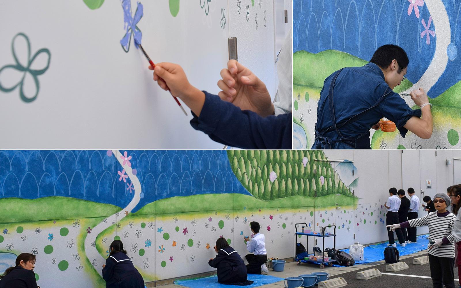 ホスピタルアート 四国こどもとおとなの医療センター 壁画「はなの和」ワークショップ